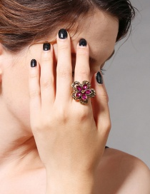 Fashion Plum Red Flower Shape Decorated Ring