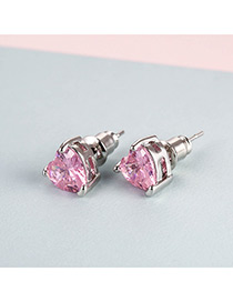 Fashion Pink Heart Shape Diamond Design Earrings