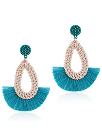Fashion Blue Waterdrop Shape Decorated Tassel Earrings