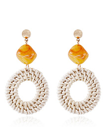 Fashion Orange Round Shape Decorated Earrings