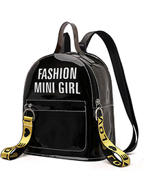 Fashion Black Letter Pattern Decorated Backpack