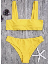 Sexy Yellow Pure Color Decorated Swimwear(2pcs)