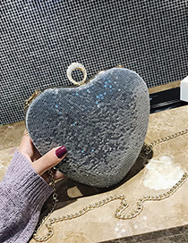 Fashion Silver Color Heart Shape Decorated Bag
