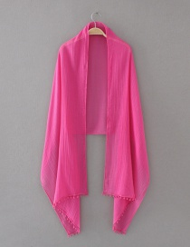 Fashion Plum Red Pure Color Decorated Scarf
