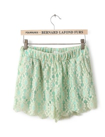 Fashion Green Flower Pattern Decorated Pants
