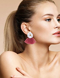 Fashion White+plum Red Flower Shape Decorated Tassel Earrings