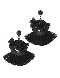 Fashion Black Flower Shape Decorated Tassel Earrings