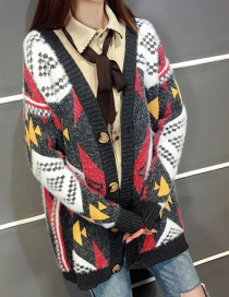 Fashion Black Geometric Pattern Decorated Sweater