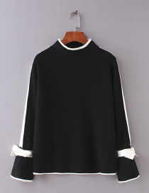 Fashion Black Color-matching Decorated Sweater