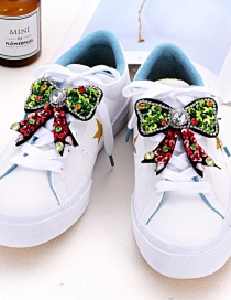 Fashion Red+green Bowknot Shape Decorated Shoe Accessories(2pcs)