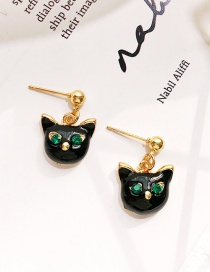 Fashion Black Cat Shape Decorated Earrings