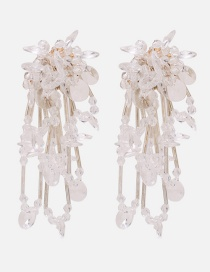 Fashion White Pure Color Decorated Tassel Earrings