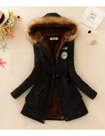 Fashion Black Pure Color Decorated Coat