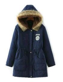 Fashion Navy Pure Color Decorated Coat