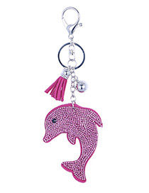 Fashion Plum Red Dolphin Shape Decorated Pendant