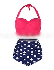 Sexy Plum Red+blue Off-the-shoulder Design Dots Pattern Swimwear(2pcs)