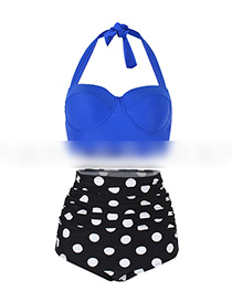 Sexy Blue+black Off-the-shoulder Design Dots Pattern Swimwear(2pcs)