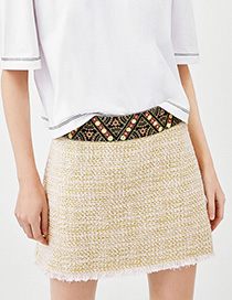 Fashion Beige Pure Color Decorated Skirt