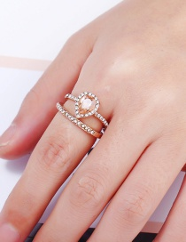 Fashion Rose Gold Waterdrop Shape Decorated Ring