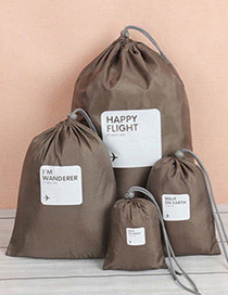 Fashion Khaki Letter Pattern Decorated Storage Bag(4pcs)