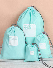 Fashion Blue Letter Pattern Decorated Storage Bag(4pcs)