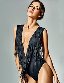 Fashion Black Tassel Decorated Pure Color Swimwear