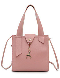 Fashion Pink Deer Shape Decorated Handbag