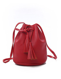 Fashion Red Tassel Decorated Pure Color Shoulder Bag