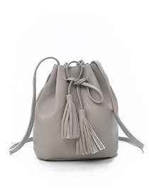 Fashion Light Gray Tassel Decorated Pure Color Shoulder Bag