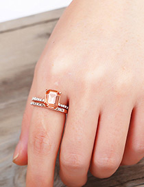 Fashion Rose Gold Square Shape Decorated Ring