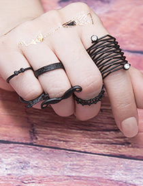 Fashion Black Pure Color Decorated Ring