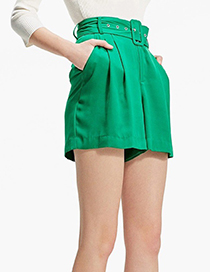 Fashion Green Pure Color Design Loose Shorts
