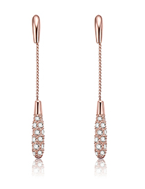 Fashion Rose Gold Full Diamond Decorated Tassel Earrings