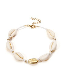 Vintage White+gold Color Shell Shape Decorated Anklet