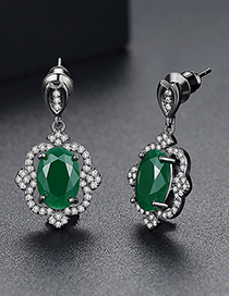 Fashion Silver Color+green Oval Shape Decorated Earrings