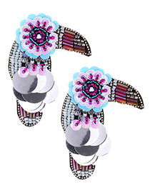 Fashion Multi-color Beads Decorated Bird Shape Earrings