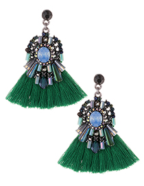 Fashion Green Diamond Decorated Tassel Earrings