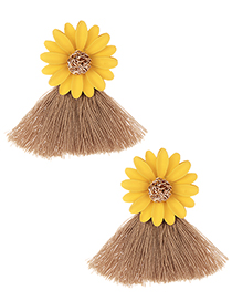 Fashion Yellow+light Brown Flowers Decorated Tassel Earrings