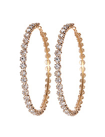 Fashion Gold Color Circular Ring Design Pure Color Earrings(large)