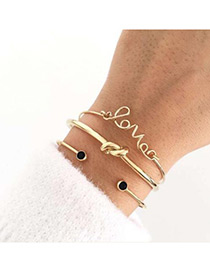 Fashion Gold Color Letter Love Shape Design Bracelet(3pcs)