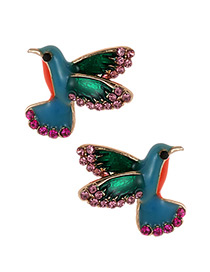 Fashion Multi-color Bird Shape Design Color Matching Earrings