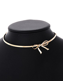 Fashion Gold Color Bowknot Shape Design Pure Color Choker
