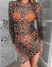 Fashion Brown Leopard Pattern Decorated Long Dress