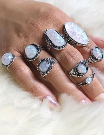 Fashion Silver Color Oval Shape Decorated Rings(8pcs)