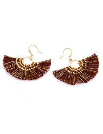 Fashion Brown Tassel Decorated Earrings