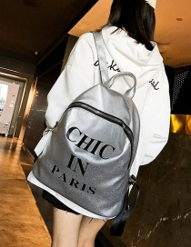 Fashion Silver Color Letter Pattern Decorated Backpack