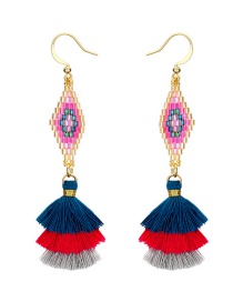 Fashion Multi-color Rhombus Shape Decorated Tassel Earrings