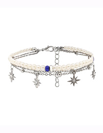 Fashion Silver Color Star Shape Decorated Ankle Chain