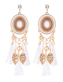 Fashion White Leaf Shape Decorated Tassel Earrings