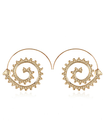 Fashion Gold Color Gearwheel Shape Decorated Earrings